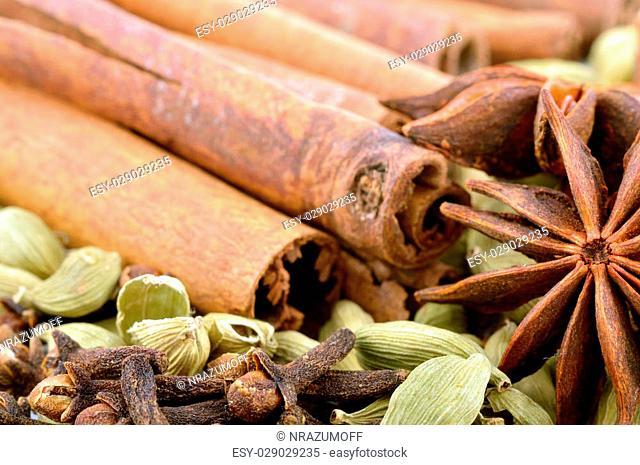Star anise, cardamom, vanilla bark close-up