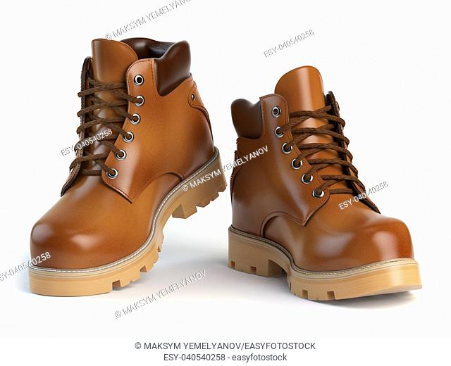 Brown man's boots isolated on white background. 3d illustration