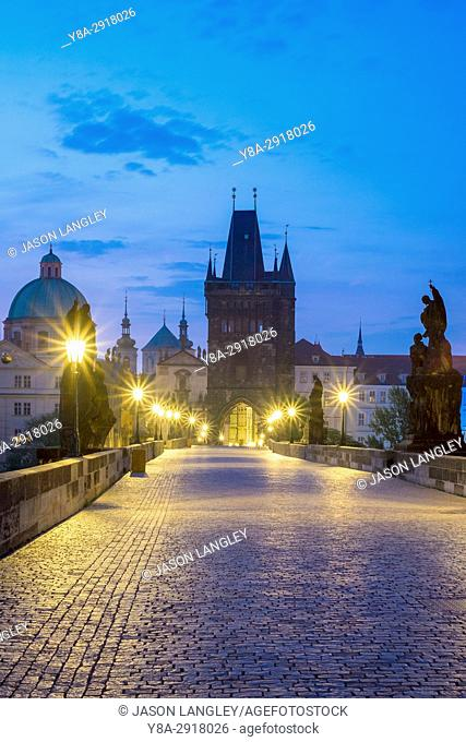 Czech Republic, Prague, Stare Mesto (Old Town). Charles Bridge at dawn