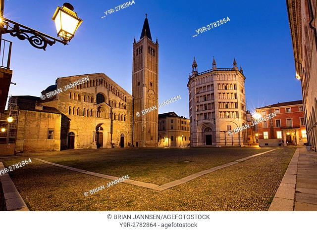 Early morning twilight over the Duomo and Baptistery, Parma, Emilia-Romagna, Italy