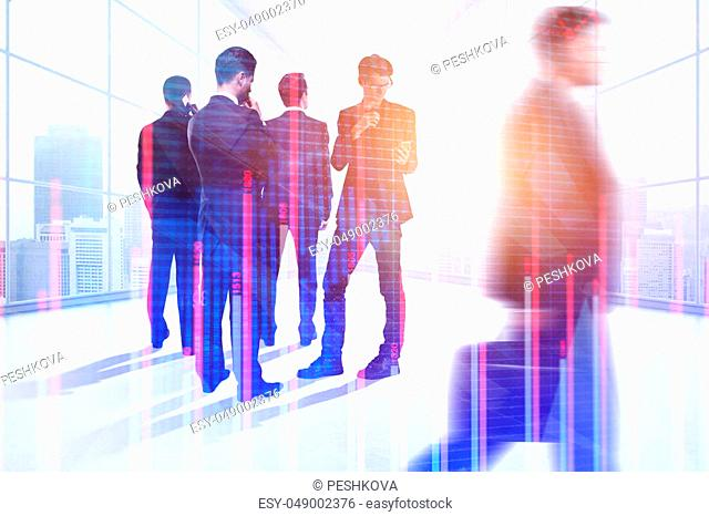 Businesspeople silhouettes in modern office interior with forex chart. Meeting, teamwork, finance and marketing concept. Double exposure