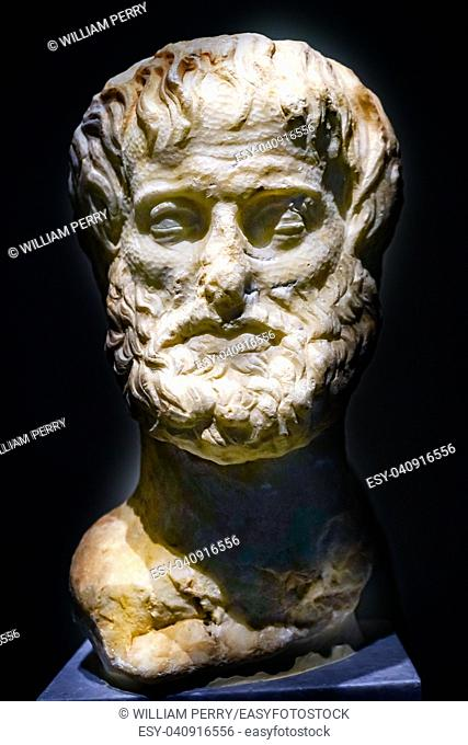 Philospher Aristotle Statue National Archaeological Museum Athens Greece. Teacher to Alexander Greate Carved 325 to 300 BC
