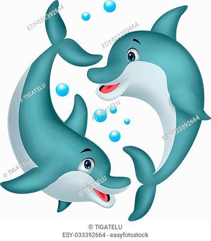 Vector illustration of Cute dolphin couple cartoon