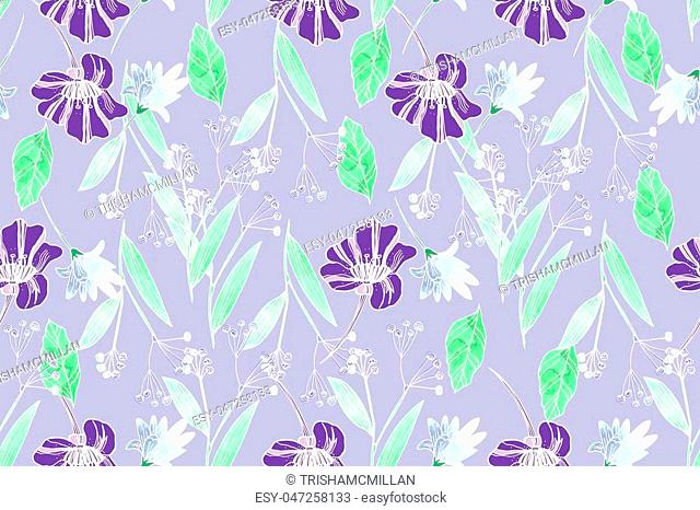 Bright seamless pattern with beautiful ranunculus and meadow flowers. Trendy ultraviolet colors. Floral background for home textiles, interiors, linens