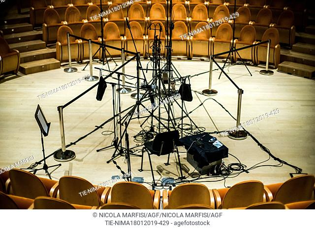 Museum of Violin in Cremona, the Auditorium with the microphones placed for the registration -ITALY-19-01-2019