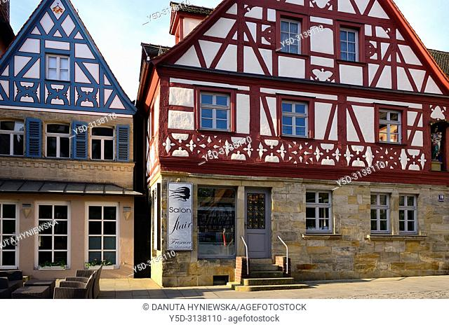 Facades of half-timbered houses at Sattlertorstrasse, hairdresser salon at ground level, historic part of Forchheim, Forchheim, Franconian Switzerland
