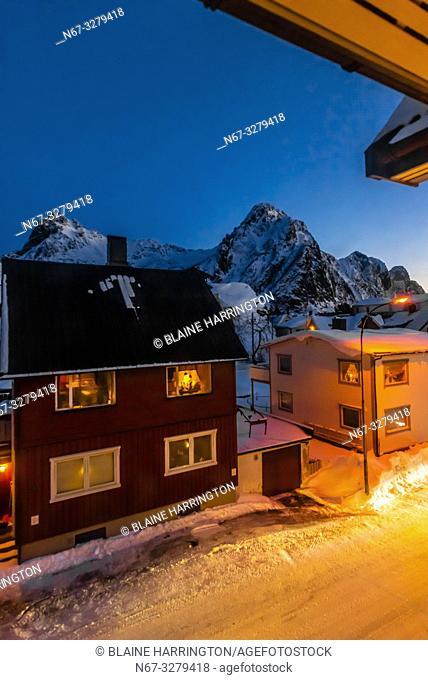 Houses in Svolvaer, Lofoten Islands, Arctic, Northern Norway seen predawn