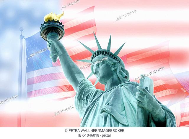Photo montage, compositing, American national flags and the Statue of Liberty, Liberty Island, New York City, New York, USA