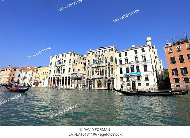 The Grand Canal in Venice forms one of the major water-traffic corridors in the city. Public transport is provided by water buses and private water taxis