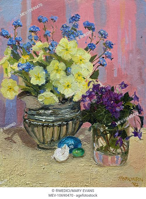 Forget-me-nots, Primroses and Violets in Glass Jars