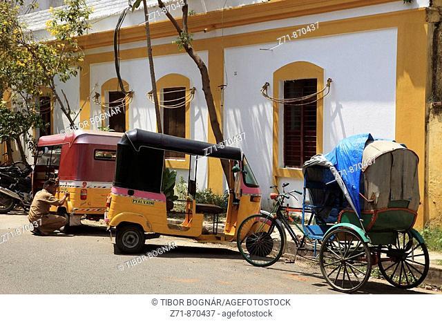 India, Puducherry, Pondicherry, street scene, rickshaws, french colonial architecture