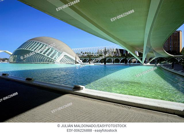 Hemispheric building in the City of Arts and Sciences in Valencia, Spain