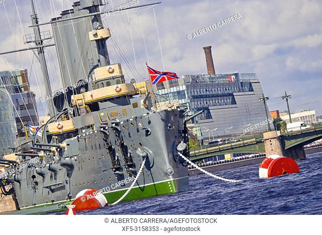 Russian Memorial Cruiser Aurora, Neva River, Saint Petersburg, UNESCO World Heritage, Russia
