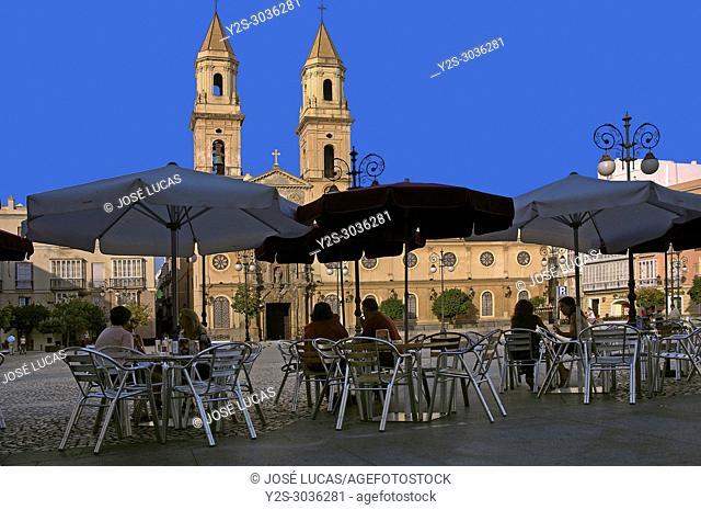 San Antonio Square. Terrace bar and church. Cadiz. Region of Andalusia, Spain, Europe