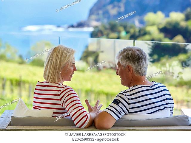 Senior couple, 60-70, Drinking a coffee, Getaria, Gipuzkoa, Basque Country, Spain, Europe