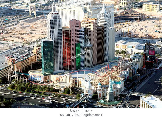 Aerial of the New York New York hotel and casino in Las Vegas, Nevada