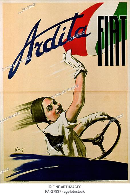 Ardita Fiat by Bianchi, Alberto (1882-1969)/Colour lithograph/Modern/1933/Italy/Private Collection/Poster and Graphic design/Poster/Ardita Fiat von Bianchi