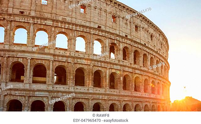 Rome, Italy - Amphitheater Colosseum view at sunset