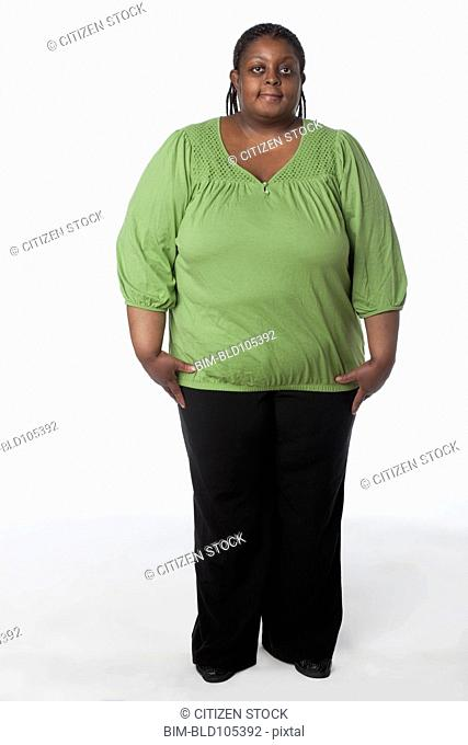 Smiling, overweight African American woman