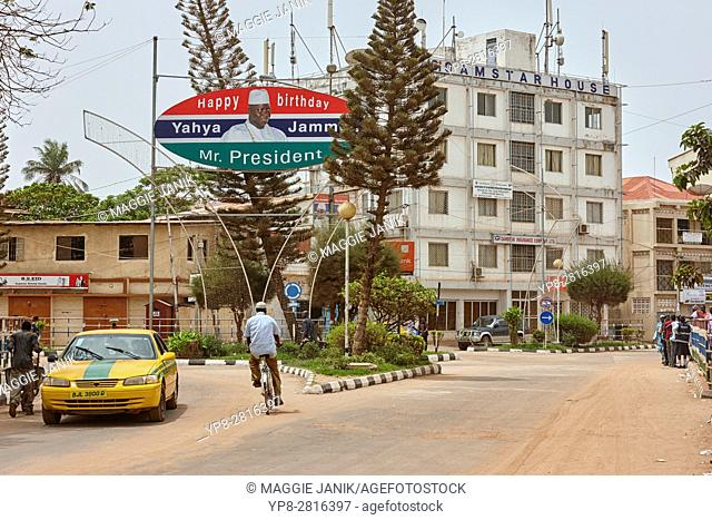 Birthday sign for president Yahya Jammeh on Independence Way