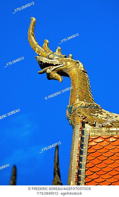 Rooftop detail of temple in Luang Prabang,Laos,Southeast Asia
