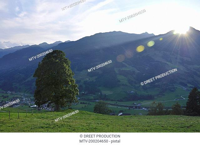 View of village with mountains, Salzburger Land, Austria