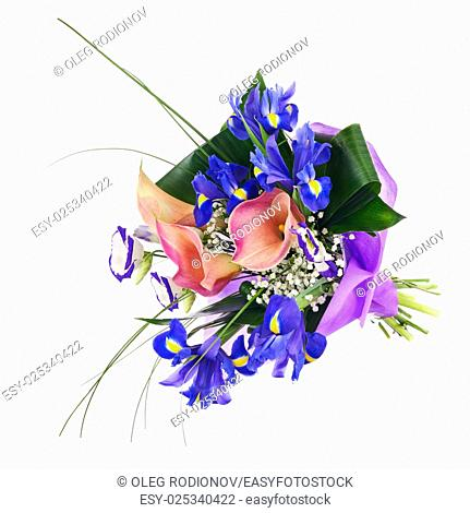 Flower bouquet from iris, calla and other flowers isolated on white background. Closeup
