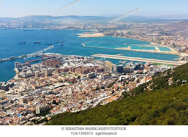 View of Gibraltar Harbour and Spain from Top of the Rock, Gibraltar, UK Europe