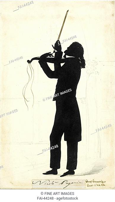 Portrait of Niccolò Paganini (1782-1840) by Edouart, Auguste Amant Constant Fidèle (1789-1861)/Ink on paper/Neoclassicism/1831/France/Private Collection/28,4x17