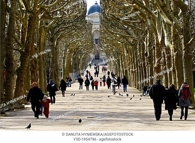People walking in gardens of National Museum of Natural History, Museum National D'Histoire Naurelle, Paris, France