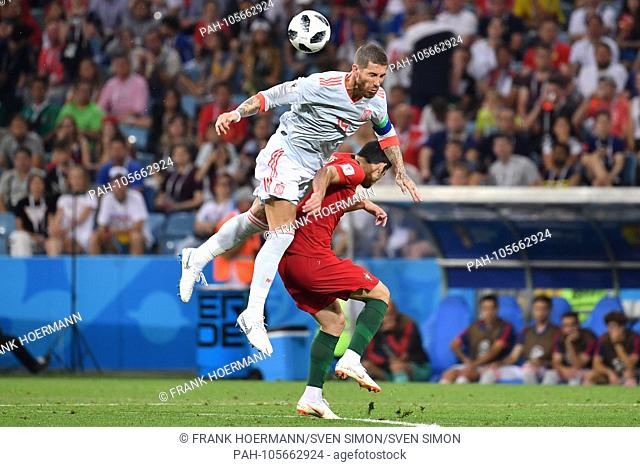 Sergios RAMOS (ESP), action, duels, header. Portugal (POR) - Spain (ESP) 3-3, Preliminary Round, Group B, Game 1, on 15.06