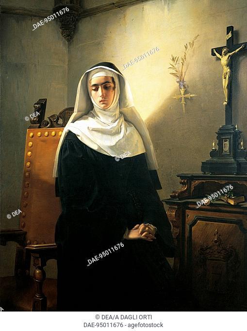 The Nun of Monza, 1847, by Giuseppe Molteni (1808-1867), oil on canvas, 149x117 cm.  Pavia, Musei Civici Del Castello Visconteo
