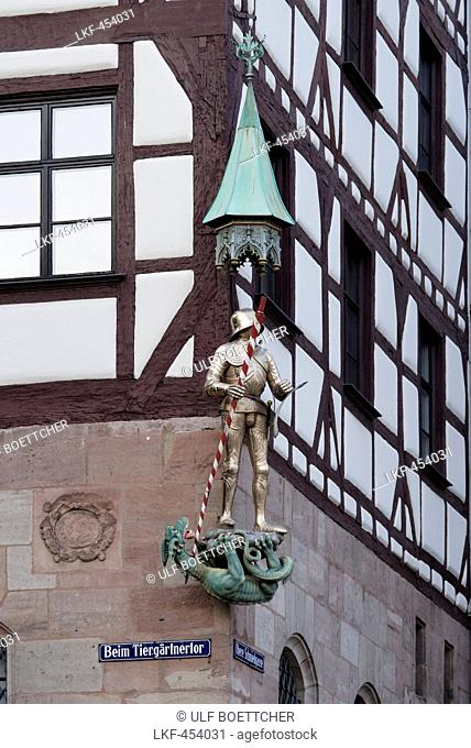Close up of Pilatus House, Tiergaertnertorplatz, Nuremberg, Middle Franconia, Bavaria, Germany