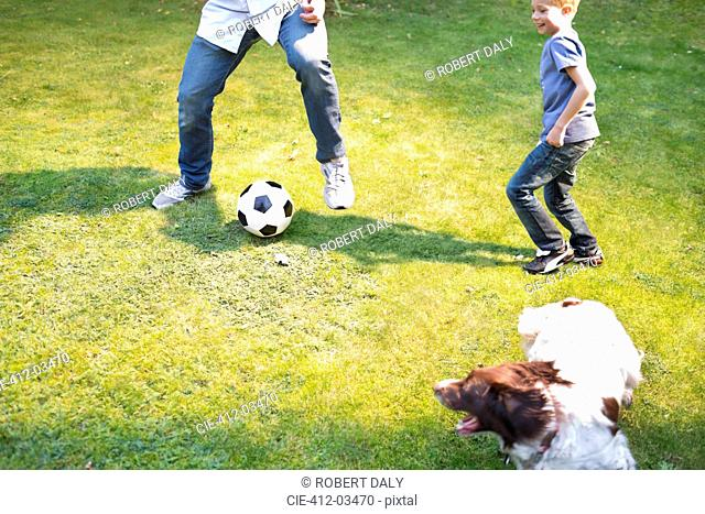 Boy playing soccer with dog outdoors