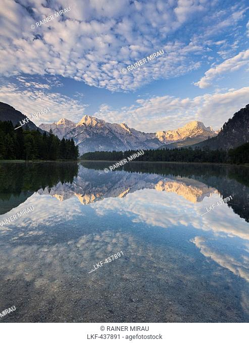 View from Almsee towards the Tote Gebirge mountains, Almtal, Northern Limestone Alps, Upper Austria, Austria