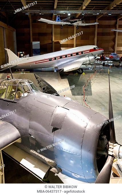 New Zealand, North Island, Auckland, MOTAT, Museum of Transportation and Technology, Aviation Hall, WW2-era US Avenger torpedo bomber and DC-3 Dakota transport