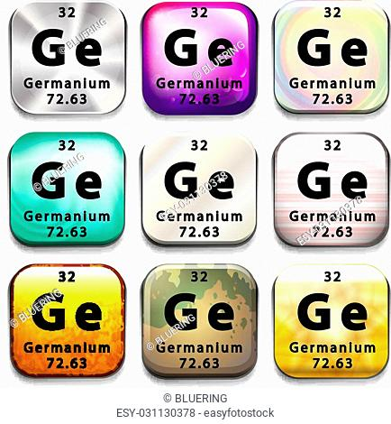 A button showing the chemical element Germanium on a white background