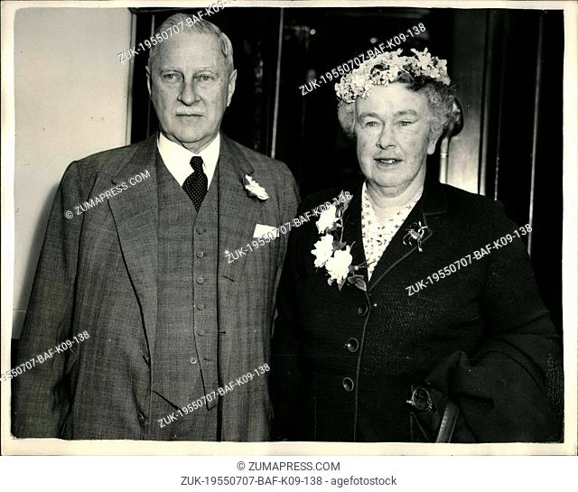 Jul. 07, 1955 - U.S. Ambassador Returns to the States for a Holiday. Photo Shows: Mr. Winthrop Aldrich, the U.S. Ambassador and his wife