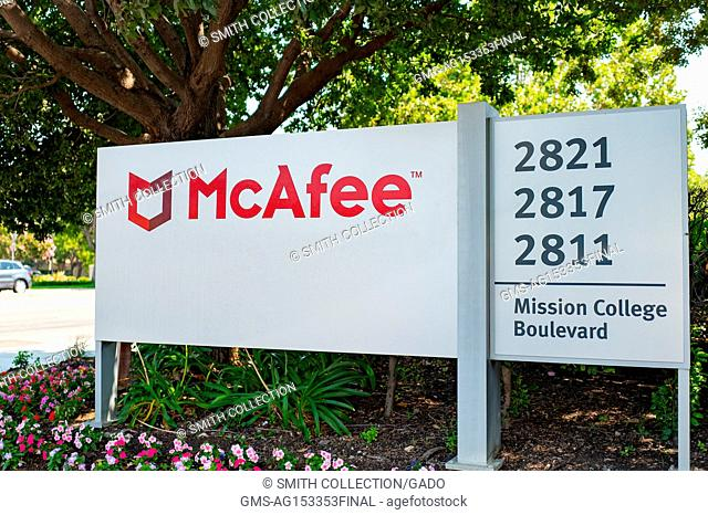 Signage with logo at the Silicon Valley headquarters of computer security and virus scan company McAfee, Santa Clara, California, August 17, 2017