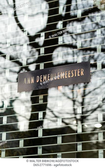 Belgium, Antwerp, sign for the flagship store of Antwerp Six star Belgian fashion designer Ann Demeulemeester