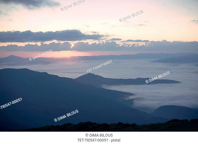 Mountains at sunrise in the Carpathian Mountain Range, Dragobrat, Ukraine