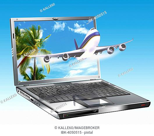 Laptop with a passenger plane, online travel bookings, illustration