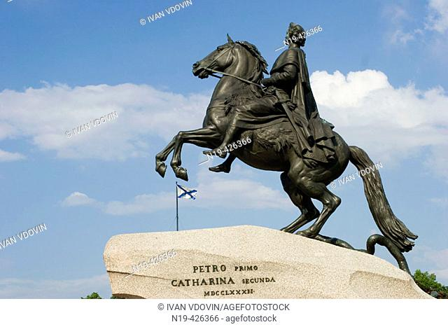 Monument to tsar and imperator Peter I the Great (The Bronze Horsemen), St. Petersburg. Russia