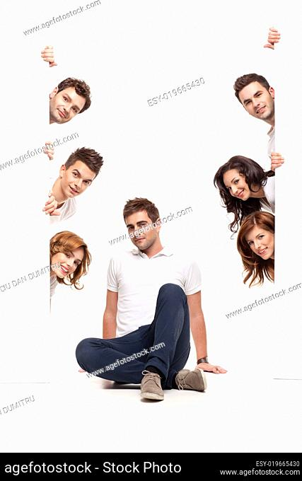 young man sitting and friends advertising