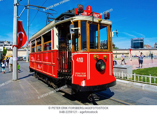 Historical Taksim-Tunel tram, Taksim square, Beyoglu district, central Istanbul, Turkey, Europe