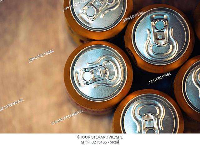 Beer cans, top view
