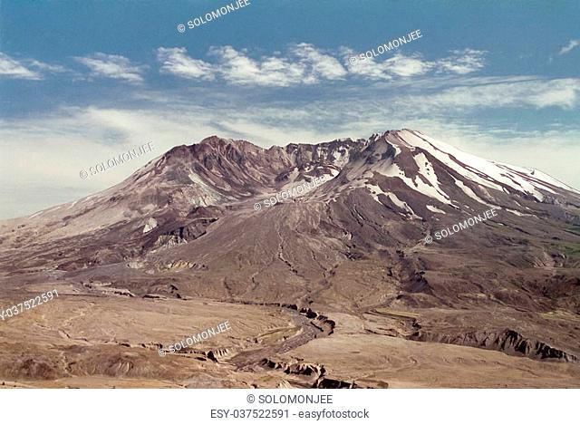 Mt. St. Helens lit by setting sun in the evening. The volcano, crater, dome and lava flow (post May 18, 1980 eruption) can be seen