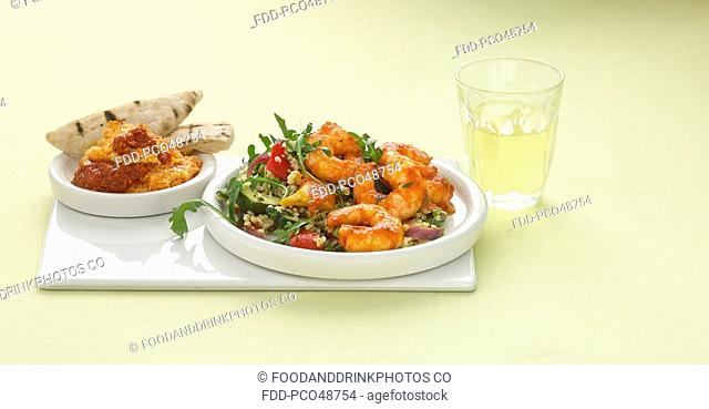 King Prawns with Moorish Salad