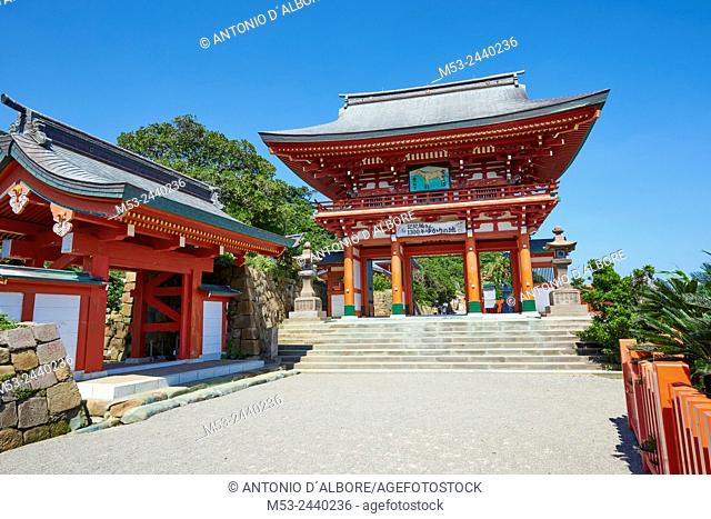 A Sanmon gate at the entrance of Udo-Jingu shinto temple. The shrine is dedicated to Yamasachihiko, the father of Jimmu, the mytical first emperor of Japan