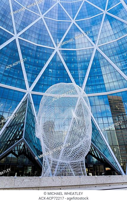 Sculpture titled 'Wonderland' by Jaume Plensa. The Bow Tower, Calgary, Alberta, Canada